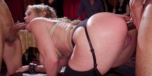 Hot anal slaves doing big dicks at orgy