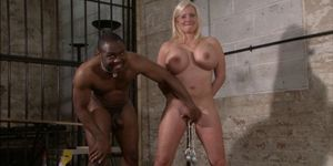 Pussy tortured Melanie Moons busty bdsm and german slave girl in interracial domination by cruel black master putting weights on