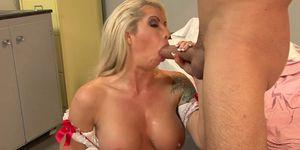 Stunning mature nurse rides her patient\'s big hard cock
