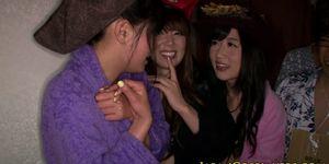 Japanese cosplay babe love orgy