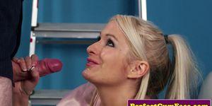 British beauty queen tugs cock til facial