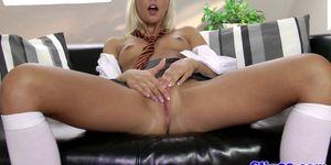 Blonde schoolgirl fingering her pussy
