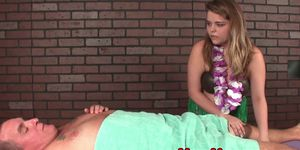 Mean hula masseuse stroking clients cock Porn Videos