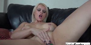 Sexy  Nadia stuffs her tight pussy with a rainbow dildo