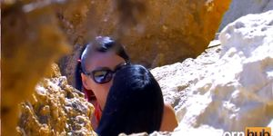 Lara Tinelli and Jordanne Kali share a a small cock at the beach