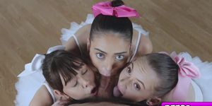 The Ballerinas blowjob their instructor large rod