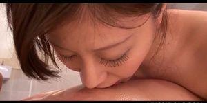 Japanese sex goddess giving massage and hot blowjob