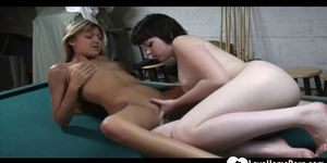 Lesbian lovemaking on the pool table is hot
