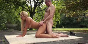 Grandpa Fucks Blonde Teen Big Boobs Pussy Fingers Cum