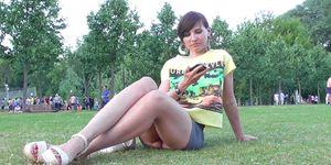 Jeny Smith walks in a park no panties upskirt views