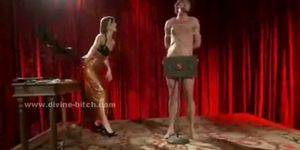 Three nasty dominatrix ladies torturing their male sex slave in s