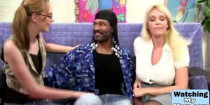 Black guy pounding two horny babes