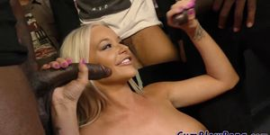 Busty blonde in blow bang gobbles black dongs