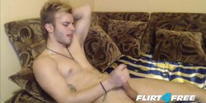 College Dude Cums Hard and Fingers His Ass
