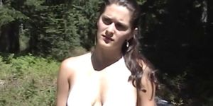 Awesome brunette MILF rides cock in the woods