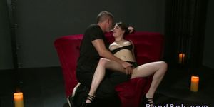 Bent over tied up slave pussy fucked on sofa
