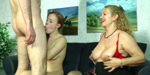 German Mature Teach Hairy Ginger Teen and Boyfriend to Fuck