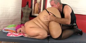 Exotic Fat Lady Sara Star Surrenders Her Yummy Body to a Perverted Masseur