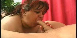 Fat bbw slut with a shaved pussy in lingerie sucks a dick and gets fucked hard