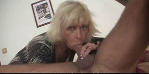 Blonde mother in-law lures him into sex