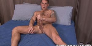 Tattooed military amateur Mike OBrian tugs his huge boner