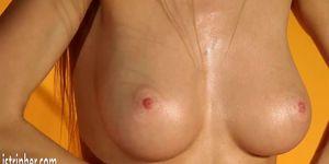 Big boobs blonde Nancy stripping and masturbate in yellow