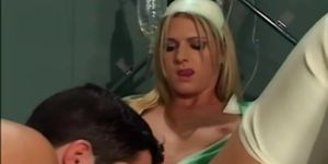 Sexy uniform porn - Sexy blonde nurse fucking in latex uniform gloves and stockings