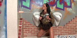 Kinky slut covered in slime