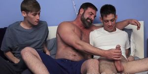 FAMILY COCK - Young stepbrothers having raw threesome with mature stepdad