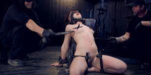 Slave dp fucked in device bondage