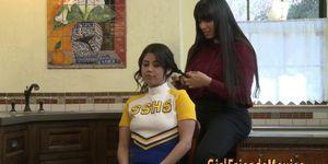 Latina Lesbian Milf Rides Teens Face