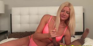 Mature giving tug job to lucky dude in POV