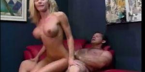 Skinny blonde MILF is fucked hard in her wet twat
