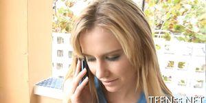 Slutty teen explores mature cock - video 5