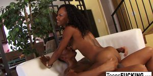 Ebony starlet Marie Luv strips off her bikini to fuck