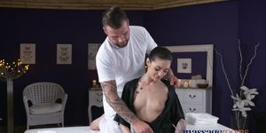 Massage Rooms Young tattooed hottie takes fat cock in her tiny pussy