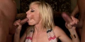 Horny MILFS Serve Up Hungry Teen For Triple Cumshot
