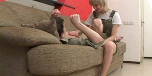 Harsh fuck on the couch with a slim doll Porn Videos