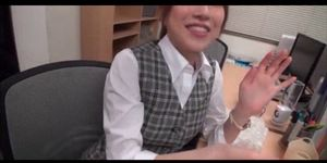 Beautiful Japanese office doll fucked by two horny co workers