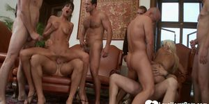 Horny babes are fucked in a hot gang bang