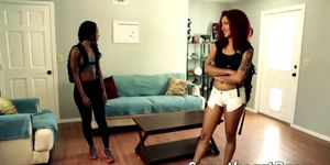 Hot ebony chicks Chanell and Daisy fuck hard in the cottage