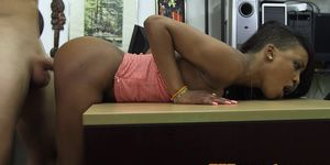 Ebony pawnee chick doggystyled on spycam