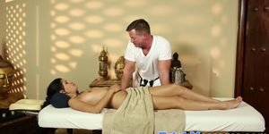Lovely massage gags on enormous cock
