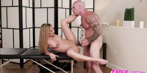 Naughty blonde gets a good massage and fucking