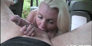 Hot amateur babe anal fucked by fake driver in public