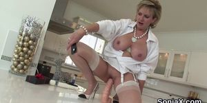 Adulterous english mature lady sonia showcases her massive balloons