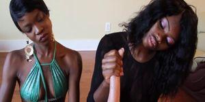 Stroking ebony babes giving a handjob