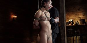Small tits Latin slave in hogtie