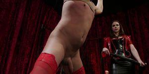 Gag dildo in mistress pussy
