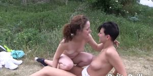 Outdoor lesbian fun with tiny babes who are really horny